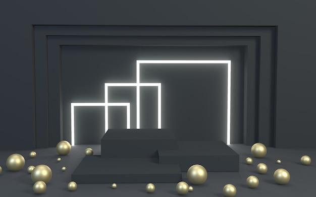 3d render blackgold produktanzeige podium