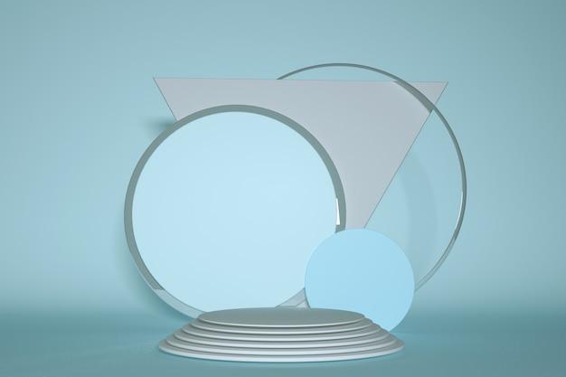 3d-render-blaue plattform mit geometrischer formenzusammensetzung des runden rahmens für produktdesign