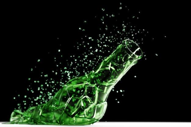 3d render broken glass realistische grüne bierflasche mock up, 3d-darstellung grafikdesign.
