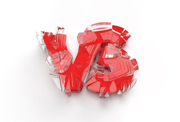 3d render broken vs company broken letter logo illustration design.