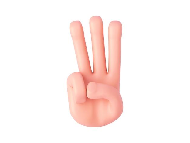 3d-render, cartoon-hand zeigt drei finger. fingerzählgeste