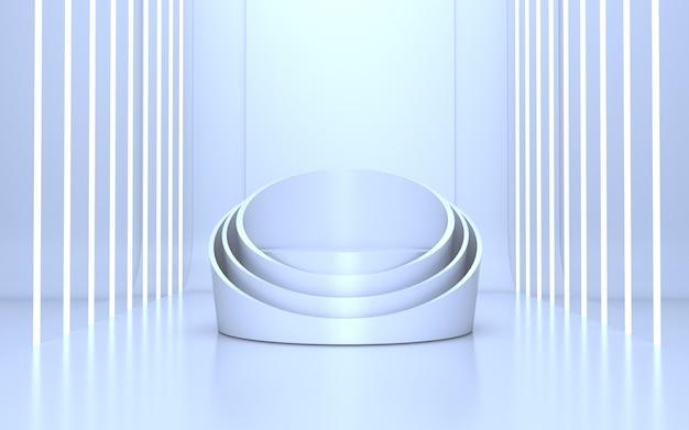3d-render clean white podium stage für produktpräsentation