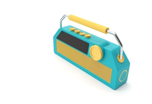 3d-render-darstellung des alten vintage-retro-stil-radioempfängers isoliert auf weißem hintergrund.