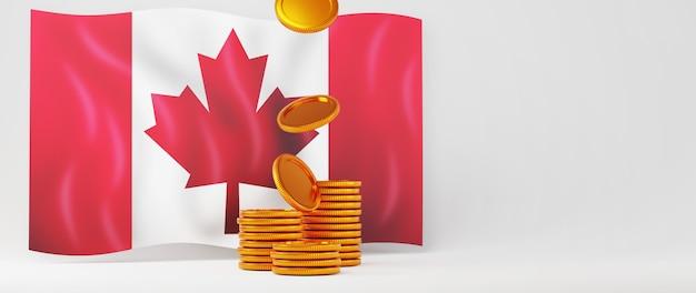 3d-render der kanada-flagge und der goldenen münzen. online-shopping und e-commerce im web-business-konzept. sichere online-zahlungstransaktion mit smartphone.