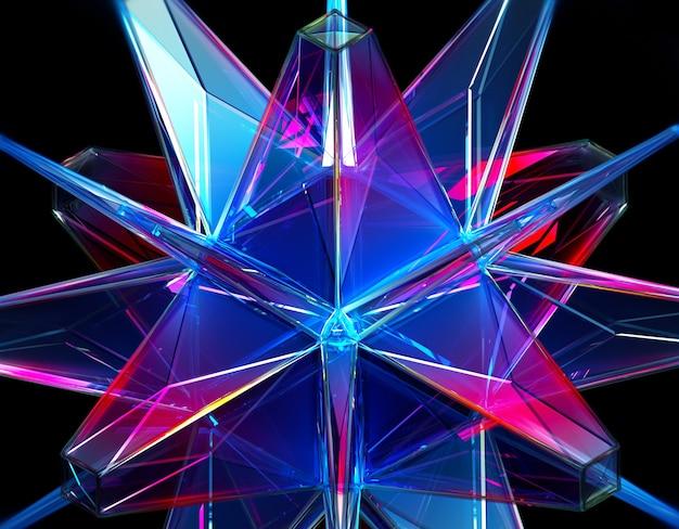 3d-render des abstrakten hintergrunds mit einem teil des surrealen smaragdkristalls der außerirdischen energie im fraktalen dreieck und im pyramidenmuster im transparenten kunststoffmaterial