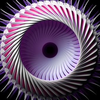 3d-render des abstrakten mit surrealem turbinenkeramikstrahltriebwerk mit metallisch lila teilen auf schwarz