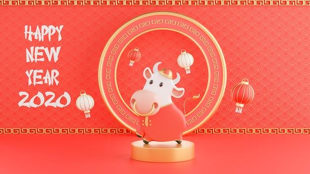 3d-render des chinesischen ochsen neujahrs 2021