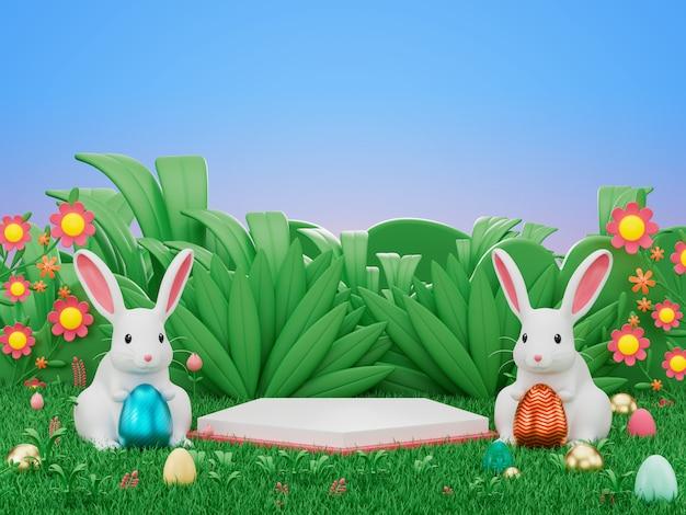 3d-render des display-podiumsprodukts verzieren mit osterhasen-kaninchen und ei