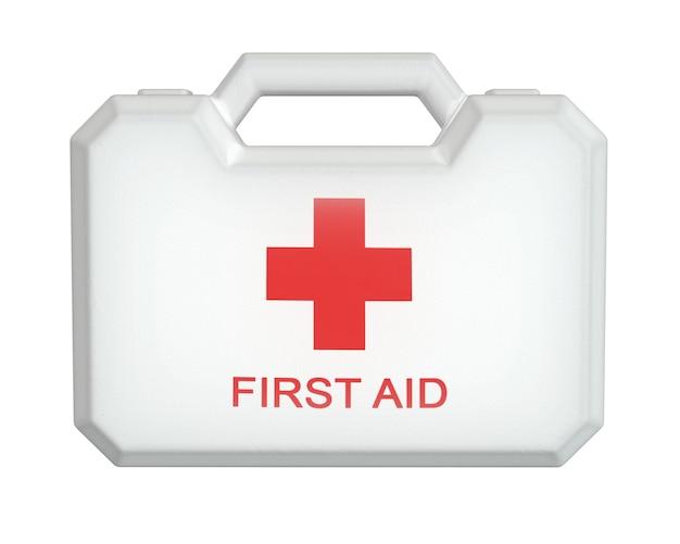 3d-render des erste-hilfe-kits. weiße fallbox lokalisiert auf weißem hintergrund.