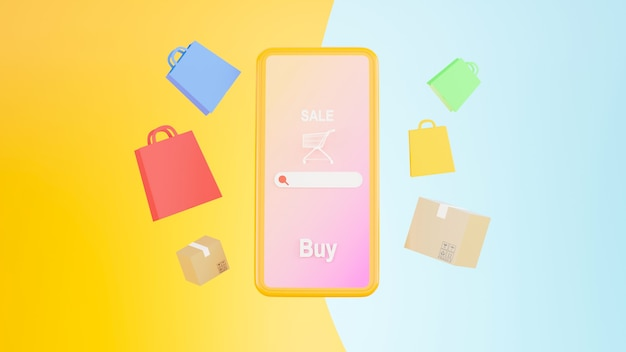 3d-render des online-shopping-shops auf konzept der mobilen anwendung