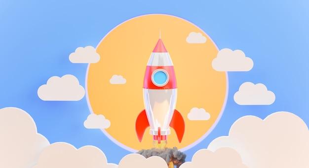 3d-render des raketenstarts mit wolke