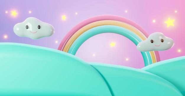 3d-render des regenbogens der karikatursterne mit wolken und gras.