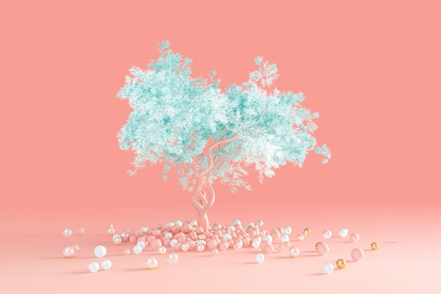 3d-render des sauberen minimalen entwurfs ein weicher nadelbaum mit einer blauen krone, die auf einer hellrosa pfirsichwand isoliert wird, die aus einem stapel von kugeln auf dem boden herauswuchs