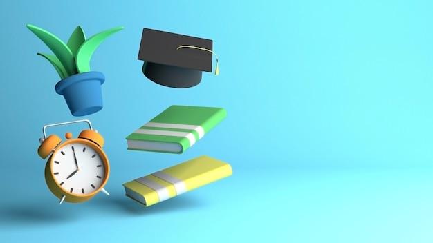 3d-render-design für bildung mit textfreiraum