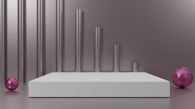 3d-render-design silberner hintergrund für die präsentation
