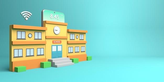 3d-render-design von schulgebäude und telefon für online-bildung mit textfreiraum with