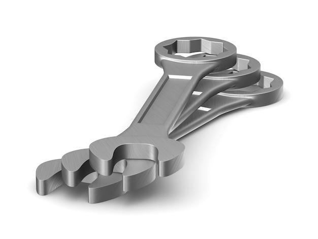 3d-render drei schraubenschlüssel isoliert auf weißem hintergrund