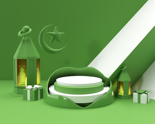 3d-render-eid mubarak-feier mit szene der minimalen podiumsszene für display-produkte-werbedesign.