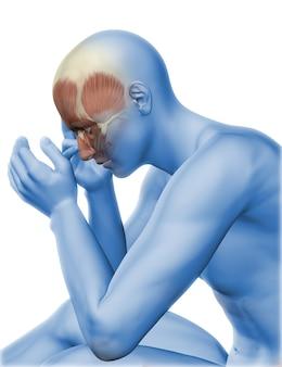 3d-render einer männlichen figur mit kopfschmerzen