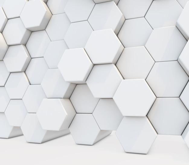 3d-render eines abstracts mit einer wand aus extrudierten sechsecken