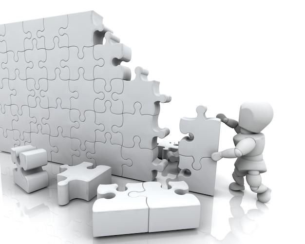 3d render eines mannes von der lösung eines puzzles