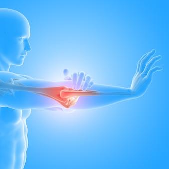 3d-render eines medizinischen mit männlicher figur, die hervorgehobenen ellbogenknochen hält