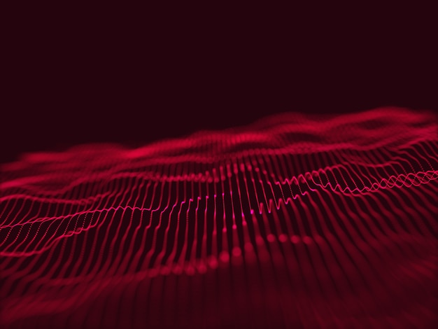 3d-render eines modernen techno mit fließendem partikeldesign