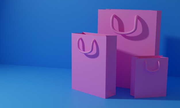 3d-render-einkaufstasche, online-shopping und valentinstag-konzept. 3d-illustration. 3d gerendert