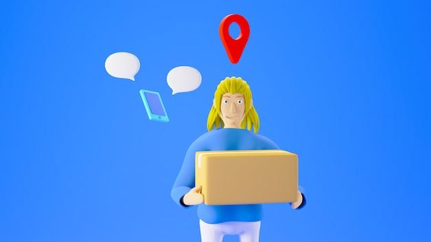 3d-render-frau, die eine box mit standortsymbol und ein kleines smartphone auf blauem hintergrund hält