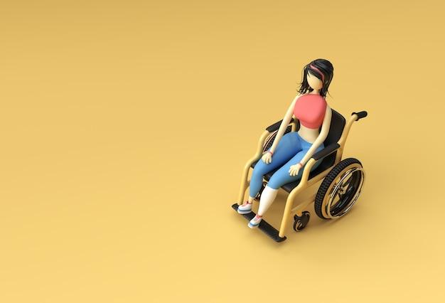 3d-render-frau sitzt auf rollstuhl 3d-illustration design.