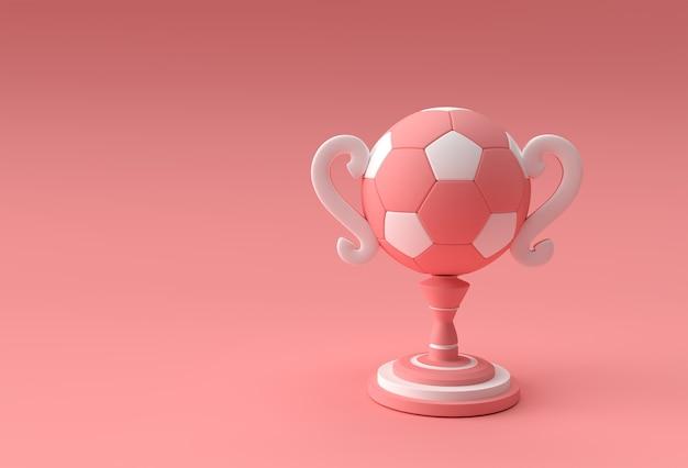 3d-render-fußball-trophäe-cup auf farbigem hintergrund isoliert.
