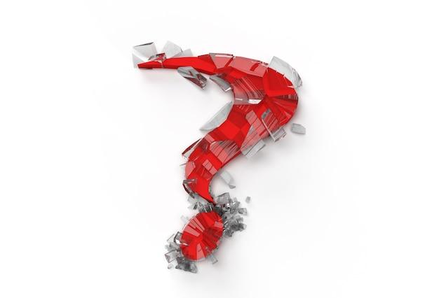 3d-render gebrochenes fragezeichen mit menschlichem gesicht symbol abbildung design-element.