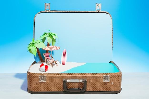 3d render gefälschter strand in einem koffer