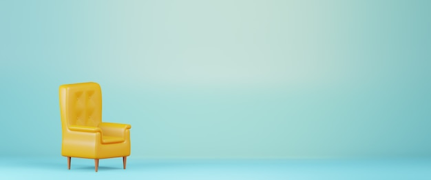 3d-render gelber sessel isoliert auf hellblauem hintergrund, banner