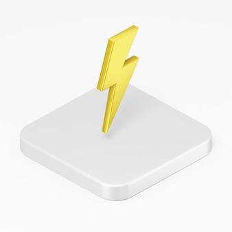 3d-render gelbes blitzsymbol auf der weißen quadratischen taste isoliert auf weißem hintergrund