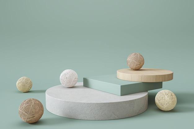 3d render geometrischer podium grüner pastellfarbener hintergrund