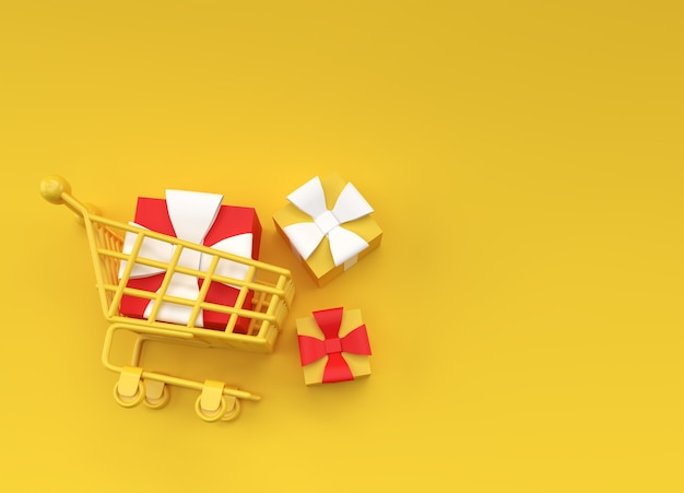 3d-render-geschenk-box im warenkorb-illustrationsdesign.