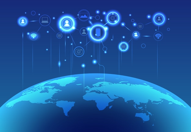 3d render globale netzwerkverbindung blauer hintergrund