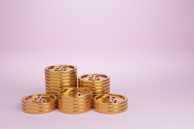 3d-render goldmünzen stapel auf hellrosa hintergrund