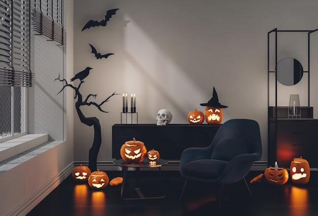 3d render halloween-party im wohnzimmer mit kürbissen