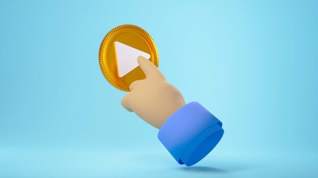 3d-render-hand, die die goldene play-taste berührt, isoliert auf hellblauem hintergrund
