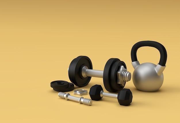 3d-render hanteln set, realistische detaillierte nahaufnahme isolierte sportelement des fitness-hantel-designs