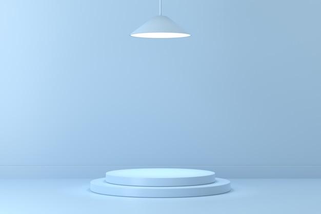 3d-render hellblaues treppenpodest mit lampe auf hellblauem hintergrund