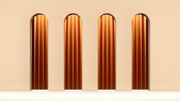 3d-render hellbraune wand mit tunnelhintergrund für herbstproduktanzeige
