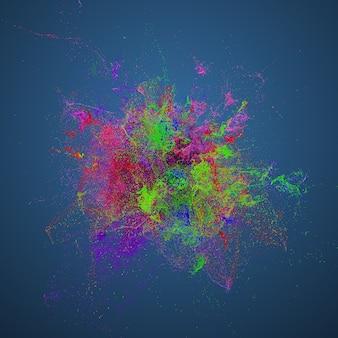 3d-render-hintergrund mit abstrakten partikeln. turbulenzen und gekräuselte partikel. komplexe simulation. mehrfarbig.