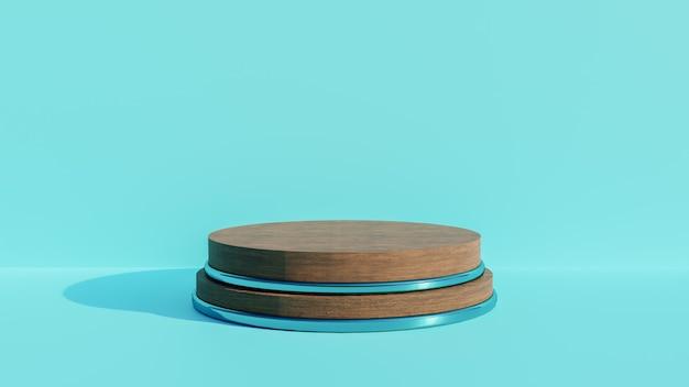 3d-render holzsockel für die anzeige auf blauem hintergrund