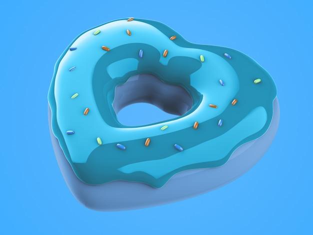 3d render illustration der pastellfarbe 3d zuckerguss machen donut mit herzform.