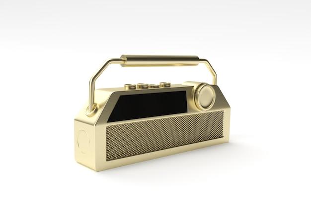 3d-render-illustration des alten vintage-retro-stil-radioempfängers auf weißem hintergrund.