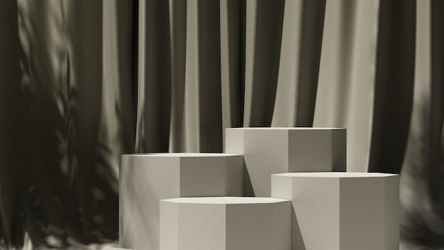 3d-render-illustration für die produktpräsentation das licht von den fenstervorhängen und dem podium