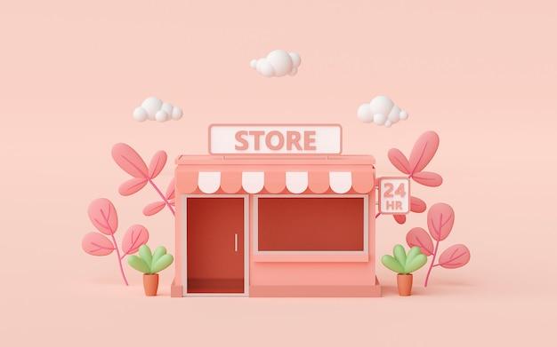 3d-render kleiner supermarkt auf hellrosa hintergrund